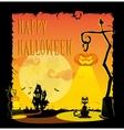 Funny halloween pumpkins in retro cartoon style vector image