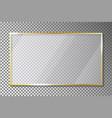 glass plate in golden frame on transparent vector image