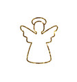 Golden glitter christmas angel line icon