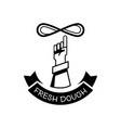 hand throw fresh dough in the air logo vector image vector image