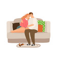 happy tired couple vector image vector image