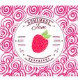 Jam label design template for raspberry dessert vector image