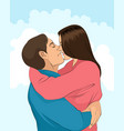 kiss and hugs of couple vector image