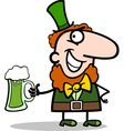 Leprechaun with beer cartoon vector image vector image