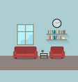 living room with sofa interior vector image