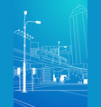 modern cityscape railway bridge over blue vector image
