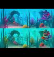 ocean or sea underwater background fish reef vector image