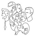 people different faces line people different vector image vector image