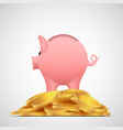 piggy bank pig on heap gold coins vector image vector image
