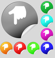 pointing hand icon sign Set of eight multi-colored vector image vector image