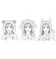 portraits of cute young women in animal hats girl vector image vector image