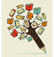 Reading education concept pencil tree vector image vector image