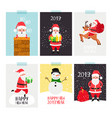 santa posters set christmas winter flyer set with vector image
