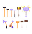 set instruments sledge hammer wooden and metal vector image
