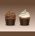 set of cupcake with white brown chocolate vector image vector image