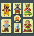 set of the bun russian folk fairy tale vector image