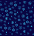 snowflakes seamless pattern blue snowflake vector image