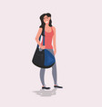 sportswoman holding sports bag healthy lifestyle vector image