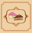 sweet cake slice cartoon vector image vector image