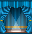 theater stage with blue curtains entertainment vector image