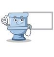 thumbs up with board toilet character cartoon vector image vector image