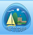 time to travel emblem template sailing yacht at vector image vector image
