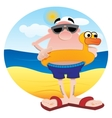 Tourist on the beach vector image vector image
