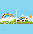 two background scenes with rainbow vector image vector image