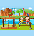 two boys sitting in the park vector image vector image