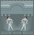 two flapper girls on art deco background vector image vector image