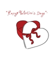 Valentine Gift box and red ribbon vector image vector image