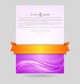 Wavy flyer design with orange ribbon vector image