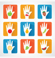 Different fruit icons and design with helping hand vector image