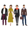 Handsome young guys with beautiful girls woman vector image