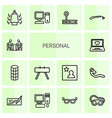 14 personal icons vector image vector image