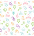 baby toys seamless pattern on white background vector image vector image
