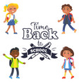 back to school time sticker surrounded by pupils vector image vector image