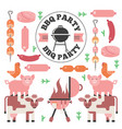 bbq icons in flat style vector image