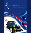 blue business background with retro car image vector image
