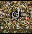 cartoon doodles diet food frame vector image vector image