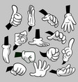 cartoon hands with gloves icon set isolated vector image