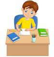 cartoon little boy studying on table vector image