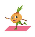 cartoon onion character doing yoga pilates and vector image vector image