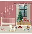 Christmas baby room interior vector image vector image
