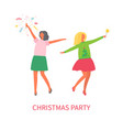 christmas party women in skirts crackers exploding vector image vector image
