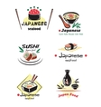 Colored japanese seafood set vector image vector image