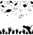 congratulatory background on graduation with caps vector image vector image