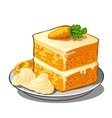 Delicious slice of carrot cake on plate vector image vector image