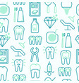 dentist seamless pattern with thin line icons vector image