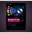 Disco poster neon background vector image